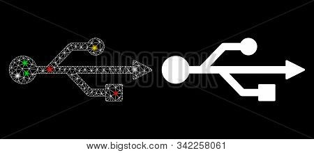 Bright Mesh Usb Symbol Icon With Glare Effect. Abstract Illuminated Model Of Usb Symbol. Shiny Wire