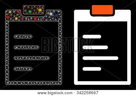 Bright Mesh Pad Text Icon With Glitter Effect. Abstract Illuminated Model Of Pad Text. Shiny Wire Fr
