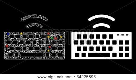 Flare Mesh Wireless Keyboard Icon With Glitter Effect. Abstract Illuminated Model Of Wireless Keyboa