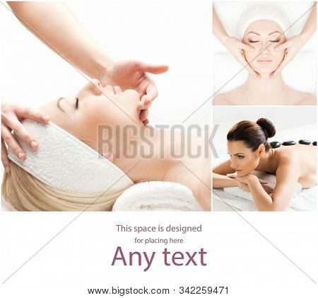 Women having different types of massage. Spa, wellness, health care and aroma therapy collage. Health, recreation and massaging therapy.