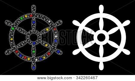 Glowing Mesh Boat Steering Wheel Icon With Lightspot Effect. Abstract Illuminated Model Of Boat Stee