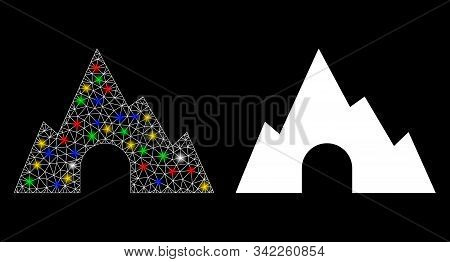 Glossy Mesh Mountain Tunnel Icon With Glitter Effect. Abstract Illuminated Model Of Mountain Tunnel.