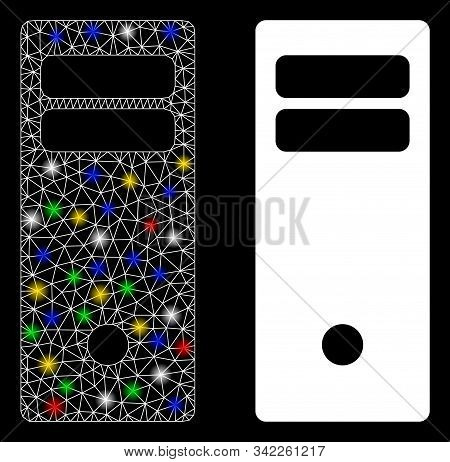 Glowing Mesh Computer Mainframe Icon With Glare Effect. Abstract Illuminated Model Of Computer Mainf