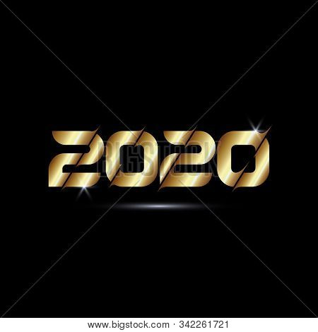2020 Golden Colour Text Isolated On Black Background, 2020 Text Graphic For Calendar New Years, Happ