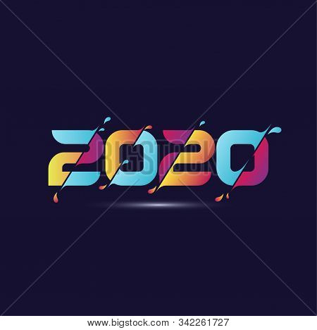 2020 Colorful Text Isolated On Dark Blue Background, 2020 Text Graphic For Calendar New Years, Happy