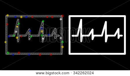 Flare Mesh Cardiogram Icon With Glare Effect. Abstract Illuminated Model Of Cardiogram. Shiny Wire C
