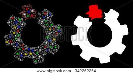 Glossy Mesh Broken Cog Icon With Glare Effect. Abstract Illuminated Model Of Broken Cog. Shiny Wire