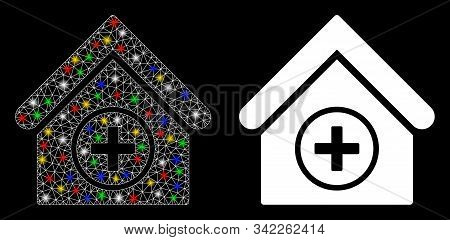Glossy Mesh Add Building Icon With Glitter Effect. Abstract Illuminated Model Of Add Building. Shiny