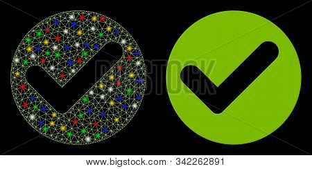 Glossy Mesh Valid Icon With Glitter Effect. Abstract Illuminated Model Of Valid. Shiny Wire Frame Tr