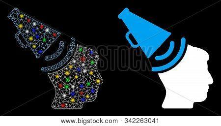 Flare Mesh Propaganda Megaphone Icon With Glare Effect. Abstract Illuminated Model Of Propaganda Meg