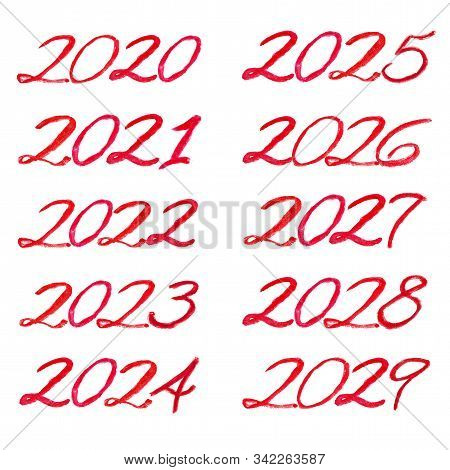 Red Watercolor Lettering From 2020 To 2029 Decade. All Numbers Isolated On A White Background, Handw