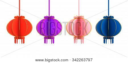 Happy Chinese New Year Background 2020, Collection Various Set Red, Purple, Violet, Pink, Blue, Gold