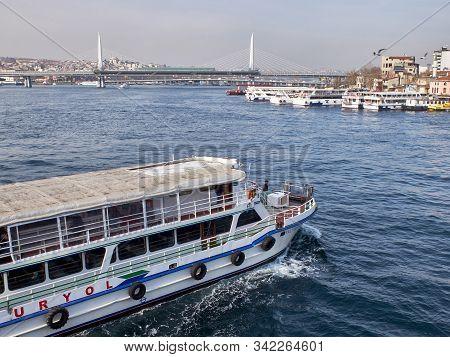 Ferryboats At Golden Horn Bay. Istanbul, Turkey - December 2019
