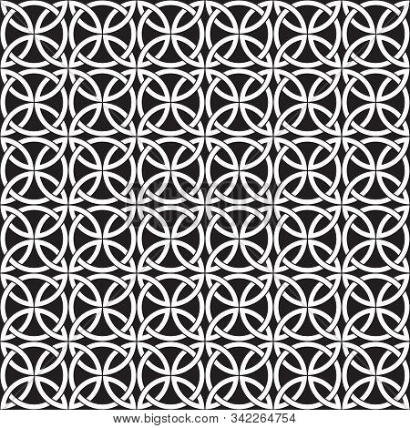 Celtic Seamless Pattern, Geometric Black And White Pattern, Celtic Vector Ornament