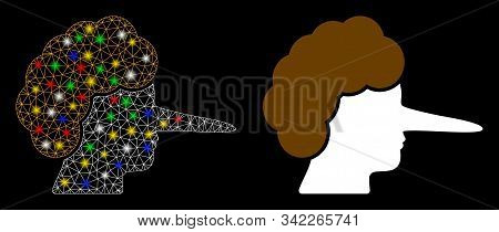 Glowing Mesh Liar Icon With Glitter Effect. Abstract Illuminated Model Of Liar. Shiny Wire Frame Pol