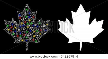 Glossy Mesh Maple Leaf Icon With Glare Effect. Abstract Illuminated Model Of Maple Leaf. Shiny Wire
