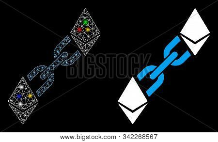 Glowing Mesh Ethereum Blockchain Icon With Sparkle Effect. Abstract Illuminated Model Of Ethereum Bl