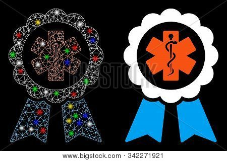 Glossy Mesh Medical Ribbon Award Icon With Glitter Effect. Abstract Illuminated Model Of Medical Rib
