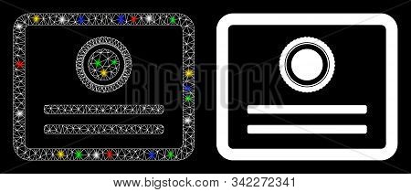 Flare Mesh Diploma Icon With Glare Effect. Abstract Illuminated Model Of Diploma. Shiny Wire Frame P