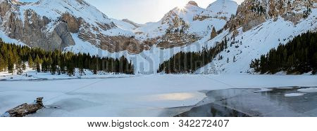Panoramic Of The Otal Valley (huesca) Snowy. Winter Nature Concept