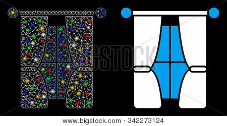 Flare Mesh Interior Curtains Icon With Sparkle Effect. Abstract Illuminated Model Of Interior Curtai