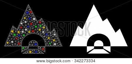 Glowing Mesh Mountain Tunnel Icon With Glare Effect. Abstract Illuminated Model Of Mountain Tunnel.