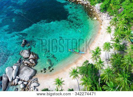 Aerial view Sai Nuan beach, koh Tao, Thailand
