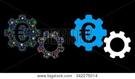Glossy Mesh Euro Mechanics Icon With Glare Effect. Abstract Illuminated Model Of Euro Mechanics. Shi