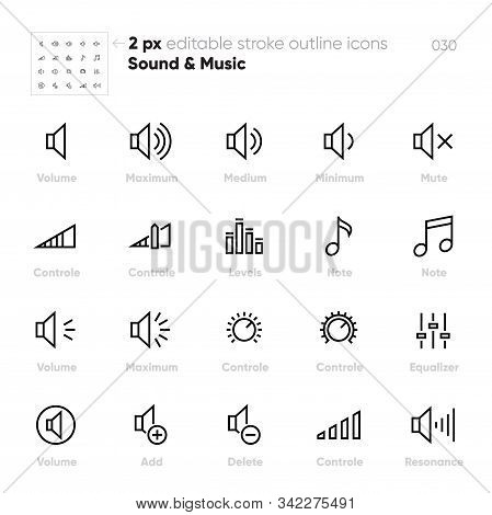 Volume Controls Outline Vector Icons. Equaliser, Note, Levels, Mute. Editable Stroke.