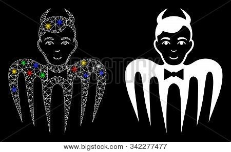 Glowing Mesh Manager Spectre Devil Icon With Glitter Effect. Abstract Illuminated Model Of Manager S