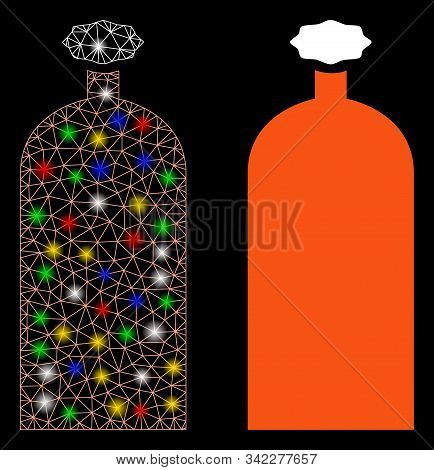 Glowing Mesh Gas Cylinder Icon With Lightspot Effect. Abstract Illuminated Model Of Gas Cylinder. Sh