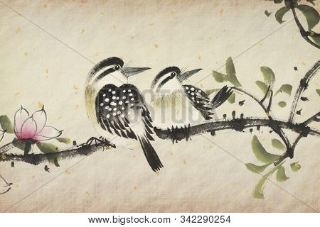 Traditional Chinese painting of flowers and a bird on tree