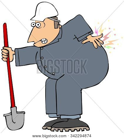 Illustration Of A Worker Leaning On His Shovel While Rubbing His Bad Back.
