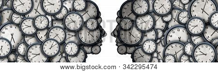 Concept Of Business Time Meeting As A Group Of Clock Objects Shaped As A Human Head As A Workplace P