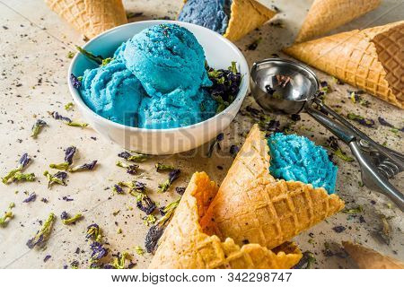 Trendy Color Changing Ice Cream With Blue Flowers Powder, Butterfly Pea Flower Blossom Gelato With I