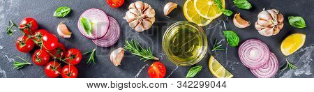 Cooking Background With Spices, Vegetables And Herbs Fresh Basil, Rosemary, Tomato, Garlic, Onions,