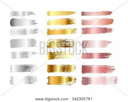 Gold , Silver And Rose Gold Paint Smear Stroke Stain Set. Abstract Gradient Texture Art Illustration