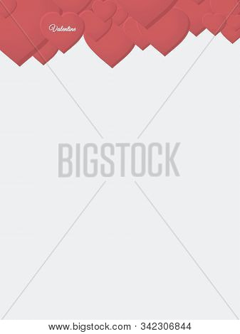 Blank Copy Space Valentine White Sheet With Red Hearts Decoration And Decorative Text
