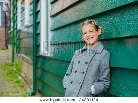 Girl near wall
