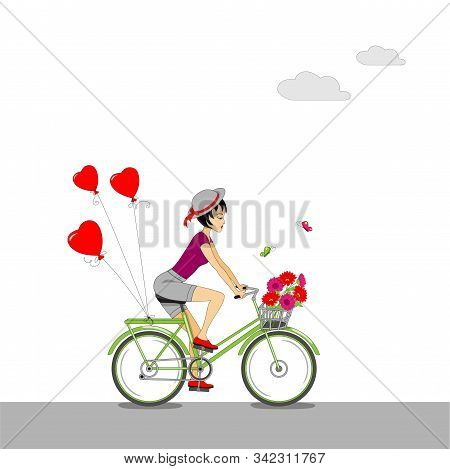 Cartoon Beauty Girl In The Hat Riding A Bike With Flowers In The Basket And Red Heart Air Balls. Col