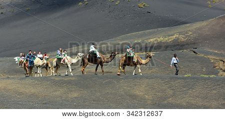 Yaiza, Lanzarote, Spain - March 28, 2019: People Enjoying Camel Ride In Volcanic Landscape Of Timanf