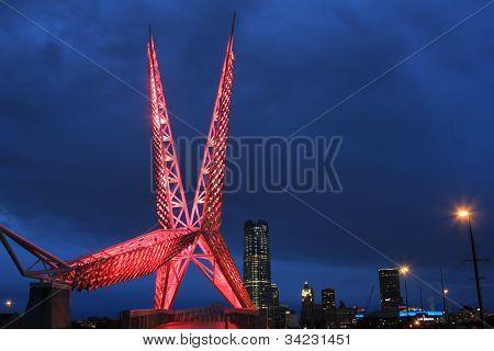 Oklahoma City SkyDance Bridge Cityscape