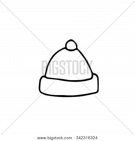 Hat With Pompom Hand Drawn In Scandinavian Style. Element For Design