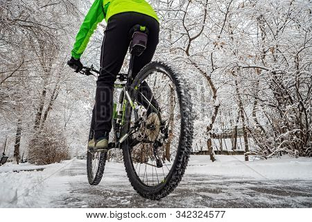 Cyclist Rides In A Beautiful Winter Park With Snowy Trees. Active Winter Activities. Back View