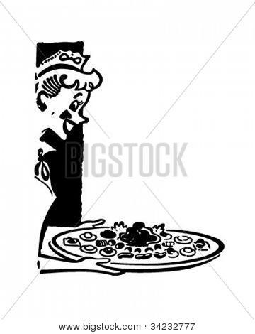 Waitress Serving Hors D'oeuvres - Retro Clipart Illustration