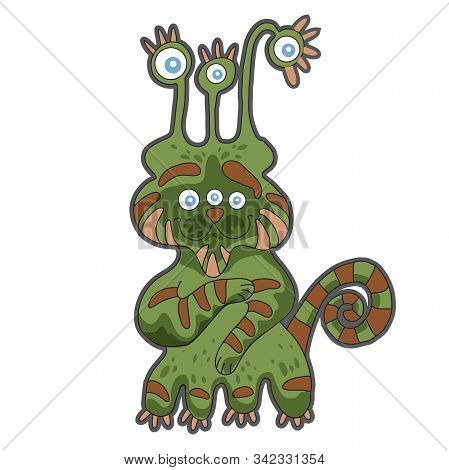 Cute Cartoon Green Monster. Illustration For Prints On Baby Clothes.