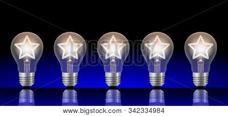 Five Lightbulbs With Lit Stars. Ranking Or Rating Image Concept