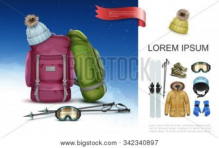 Realistic Ski Clothes And Equipment Concept With Backpacks Skis Poles Knitted Hat Sneakers Goggles H