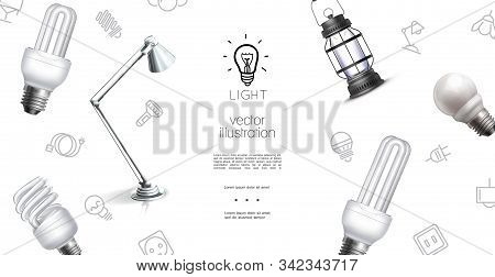 Realistic Lighting Objects Template With Lantern Lamp Bulbs And Light Equipment Icons Vector Illustr
