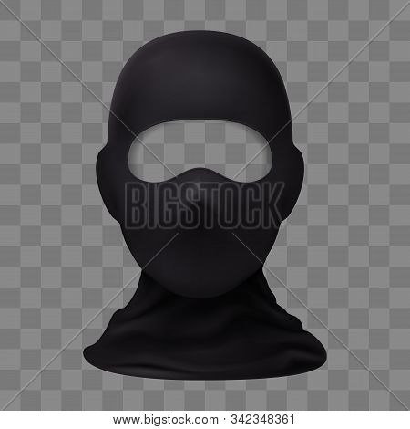 Balaclava Snowboarding Or Mountain Skiing Protective Wear On Transparent Background. Symbol Of Hacke